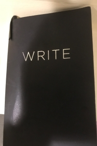 "A black journal cover with the word ""write"" written in large, gold capitals on the front."